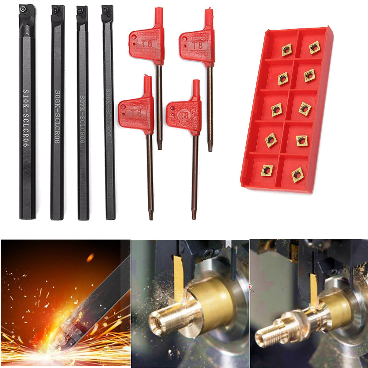 New Arrival 6/7/8/10mm SCLCR06 Turning Tools Lathe Boring Bar + T8 Wrenchs + 10 CCMT060204-HM Insert Set free shiping1pcs aju c10 10 100 10pcs ccmt060204 dia 10mm insertable bore drilling end mill cutting tools arbor for ccmt060204