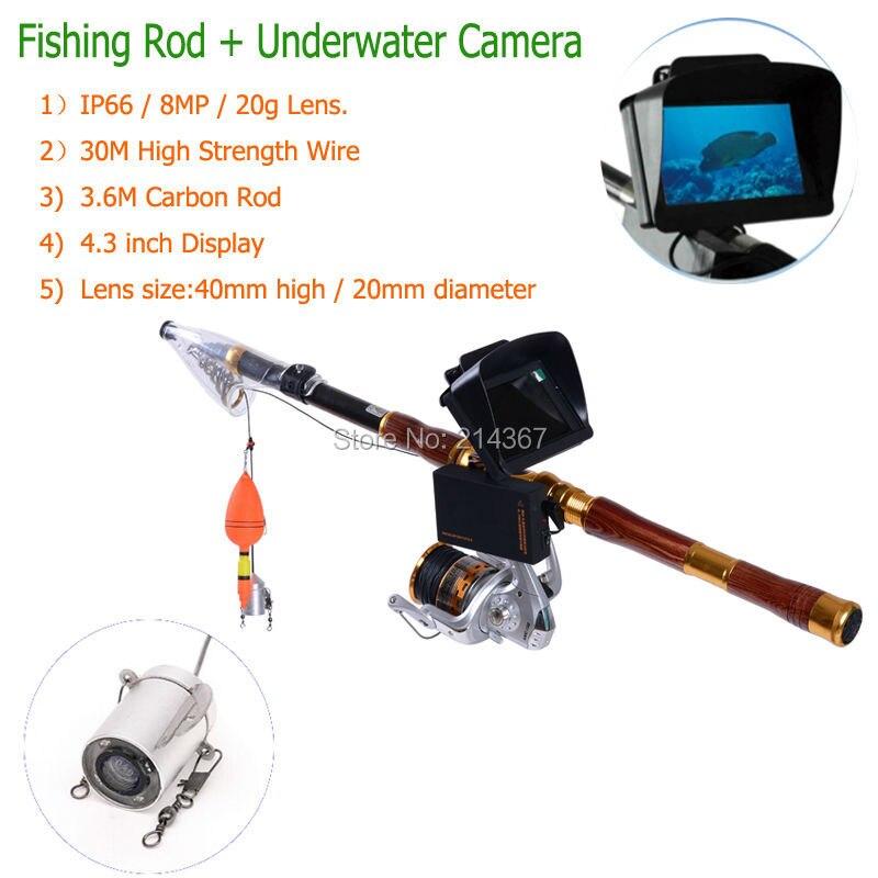 Barra de Carbo de 3,6 M con lente de cámara subacuática de 8 MP cámaras de vídeo de peces cámaras de pesca lente de pesca envío gratis