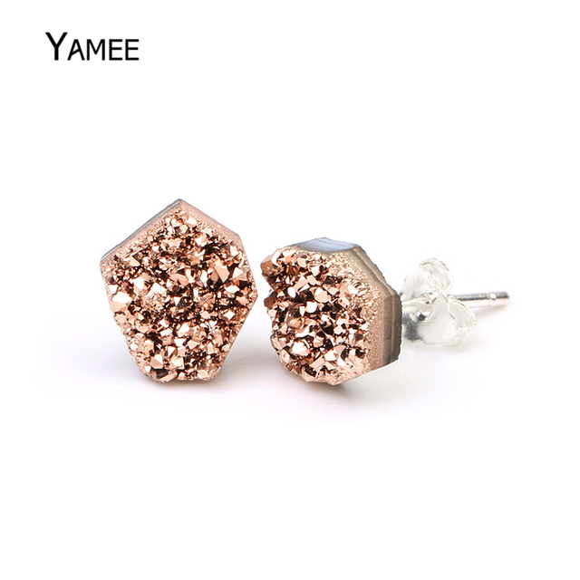 6 8mm Irregular Druzy Earrings Tiny 925 Sterling Silver Stud Rose Gold Blue White Opal Natural Stone For Women