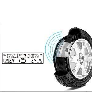 Image 4 - Tpms タイヤ空気圧警報モニターソーラー自動タイヤ圧力センサー液晶ディスプレイ 4 タイヤリアルタイムワイヤレス外部センサー