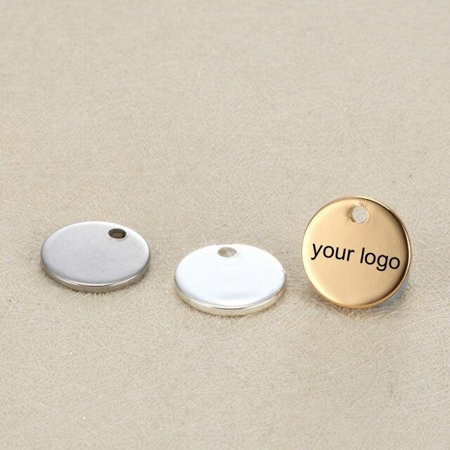 فارغة 12 مللي متر بطاقة تعريف/ ملصق دائري الشكل دلايات من الفولاذ المقاوم للصدأ مخصص شعار محفور مع كمية صغيرة