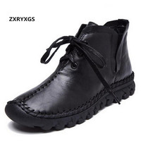 ZXRYXGS Brand boots Fashion Casual Shoes Woman Boots 2018 Fall Winter Casual Sneakers Women Boots Cow Leather Shoes Snow Boots