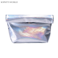 Hologram Women Leather Handbag Roll Rim Lunch Bag PU Day Clutches For Women Laser Mirror Party Evening Purse Bolsa Feminina