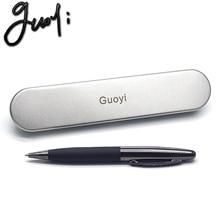 Guoyi C015 черная кожаная металлическая шариковая ручка, 50 шт./лот, для обучения, офиса, для школы, канцелярские принадлежности, Подарочная роскошная ручка и бизнес-ручка для отеля