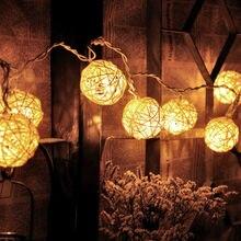 10 Warm White Wicker Rattan Ball LED String Fairy Lights Lanterns Christmas Wedding Decor Party Battery Powered
