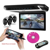 Monitor 10 inch Car Audio HD Digital TFT Monitor Touch Panel Car Roof DVD Player HDMI Port LED Light+2 IR Headphones