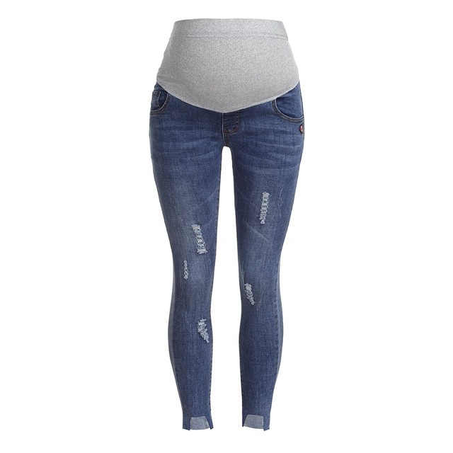 ARLONEET Pregnant Loose stretch women's casual pants Ripped Jeans Maternity Pants Trousers Nursing Prop Belly Legging L1026