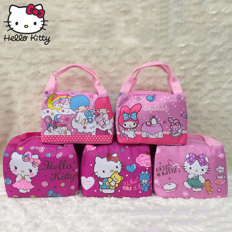 Hello Kitty Cute Lunch Box Bag Women's Kid's Portable Handbag Travel Leisure Storage Lots Pouch Fresh Insulation Plush Backpack