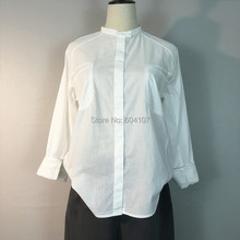Ladies White Blouse Tops Button Down Solid O-neck Essential Classic Casual Easy Care Long Sleeve Shirt Women