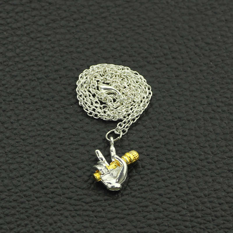 Новое поступление хип-хоп ручной микрофон посеребренное ожерелье ручной золотой микрофон сплав кулон ожерелье для хип-хоп ювелирные изделия