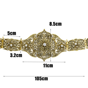 Image 5 - Vintage Lady Carving Metal Waist Chain Handmade Braided Belts Morocco Style Adjust Length Antique Gold Color Ethnic Body Jewelry