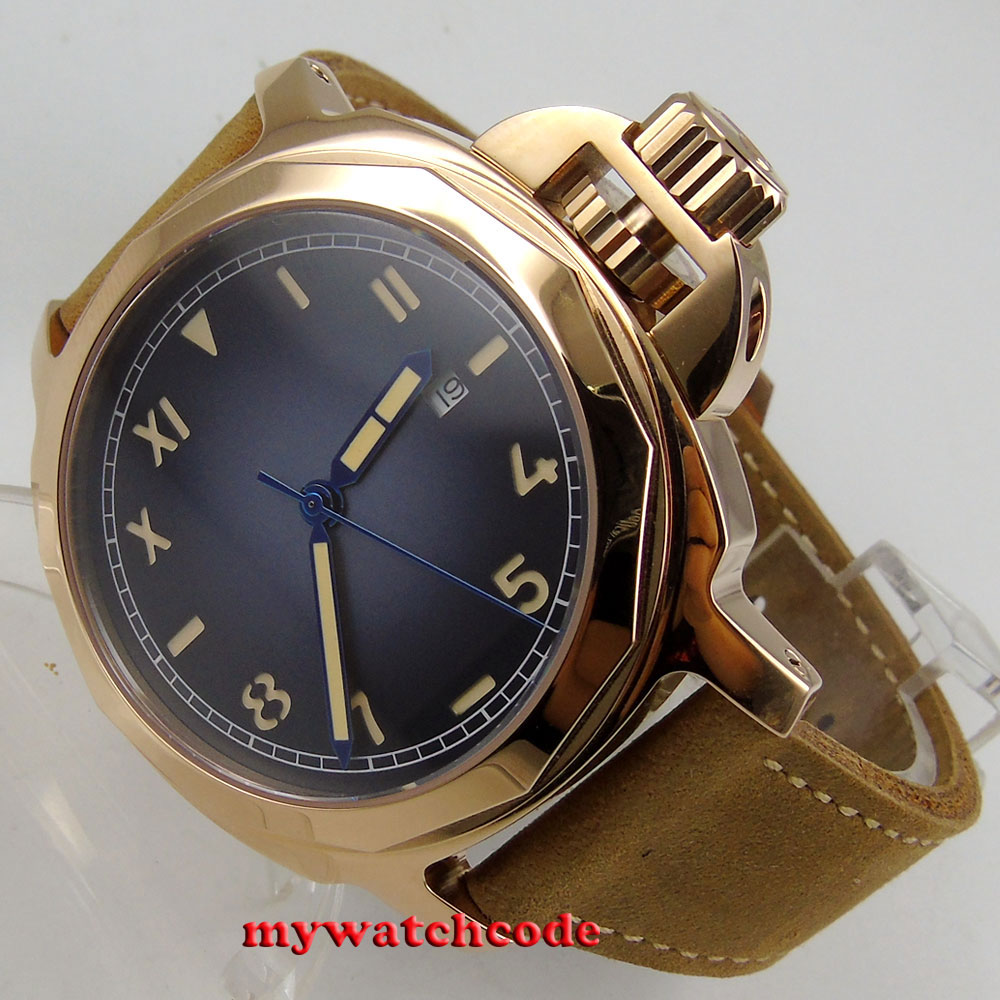 44mm Parnis blue sterile dial rose golden plated case california Sapphire glass Automatic Mens watch 474E