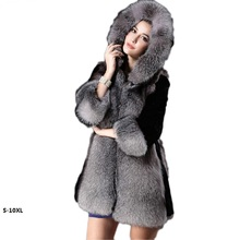 High quality Faux fur coat female 2017 new European and American long hooded chaleco piel womens faux