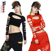 New Fashion dance hip hop short top female Jazz cutout costume neon performance wear vest Sexy hole costumes shirt