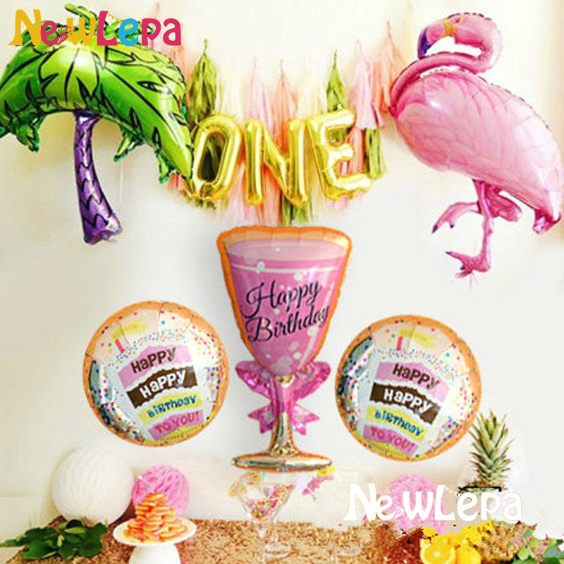 Nove teme Flamingo Birthday Foil Balloons Happy Birthday Dekoracija - Prazniki in zabave - Fotografija 1
