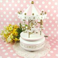 Kawaii Carousel Musical Boxes Wooden Music Box Wood Crafts Retro Birthday Gift Vintage Party Wedding   Home   Decoration   Accessories