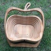 1 ADET Apple şekli bambu katlanır sepet ev depolama meyve sepeti toptan ücretsiz kargo
