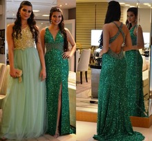 Sexy Long Green Pailletten Sparkly Formale Abendkleider Wulstige Kristalle Backless Mantel Jugendliche Elegante Abendgesellschaft Kleider Günstige