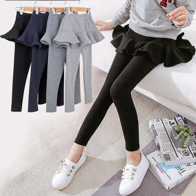 86b04dc32 Girls Leggings with Skirt Winter Warm Kids Cotton Pants Thick Warm Trousers  Girl Clothes Elastic Velvet Leggings 6 8 10 12 Years
