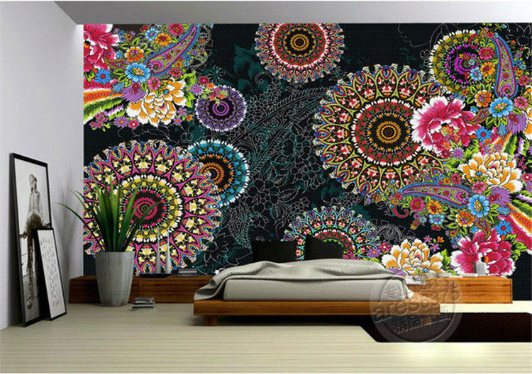Charming Paisley Pattern Flowers Wallpaper 3D Photo Wallpaper Custom ...