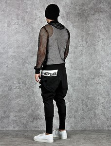 Image 3 - Calças harém masculinas, calças hip hop estilo baggy, cruzadas, tendência, preta, fita, streetwear, casual, para corrida