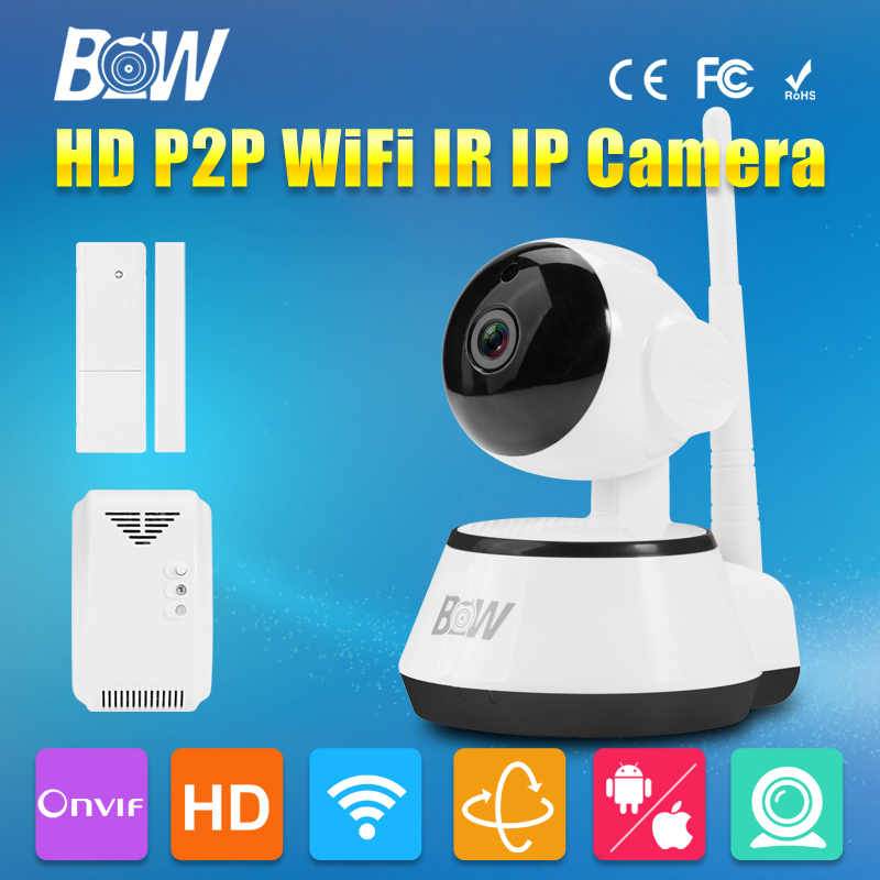 BW Mini Wifi IP Dome Video Camera 720P HD P2P 3.6mm Endoscope Automatic Door Sensor + Gas Detector Alarm Security CCTV Wireless bw wireless wifi door