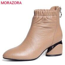 MORAZORA 2020 جديد وصول بوط من الجلد الطبيعي جولة تو حذاء من الجلد للنساء سستة موضة الخريف عالية الكعب فستان أحذية
