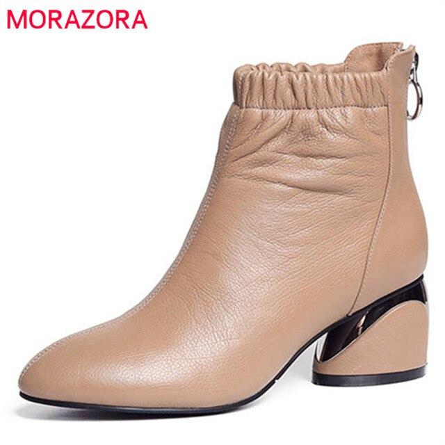 MORAZORA 2020 הגעה לניו מגפי עור עגול הבוהן קרסול מגפי נשים רוכסן אופנה סתיו עקבים גבוהים שמלת נעליים