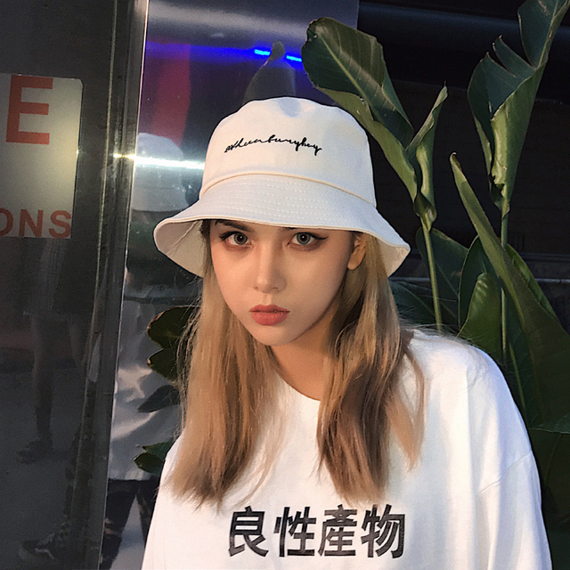 New 2018 Men Women Bucket Hats Japan and Korea Street Style Harajuku  Letters Print Streamers Lace Up Cap Ladies Summer Sun Hat 718f69ea2de