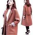 2017 Зима Новый Женской Моде Верхняя Одежда Большой размер Толстый Рыхлый чистый цвет Высокое качество Женщин Шерстяная ткань пальто Коричневый XS-M OK39