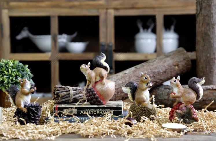 Ameriška podeželska smola veverica z oreščki Umetne figurice - Dekor za dom - Fotografija 2