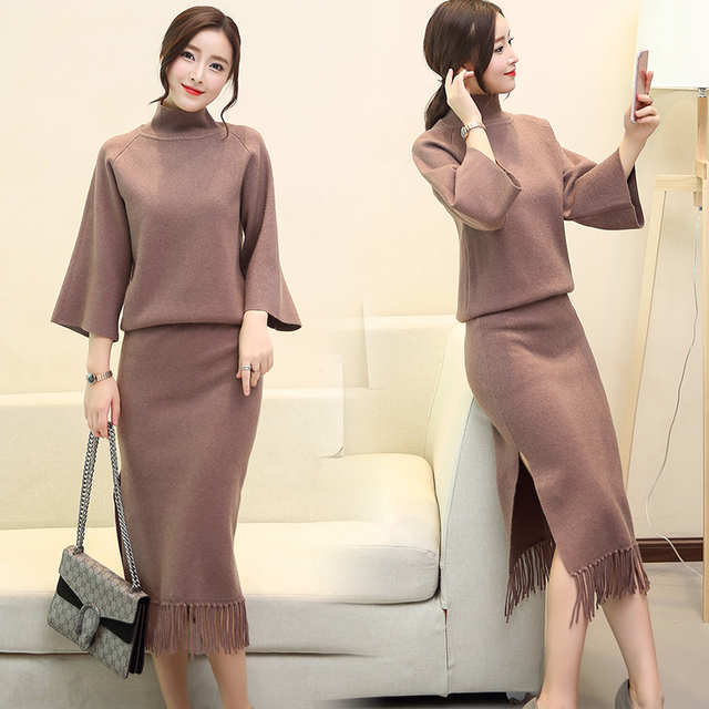 f7b8909fe46 Women Clothing Set Knitting Bodycon Skirt Suits Two-Piece Autumn Outfit New  Sweater Long-Sleeved Top Tassel Skirt Plus Size