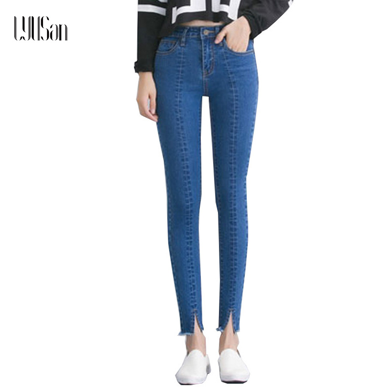 LYUSan Spring Jeans Women High Waist Stretch Ankle Length Slim Pencil Pants Fashion Female Jeans 5xl Plus Size Jeans Femme 2017 high waist jeans women plus size femme stretch slim loose large size jeans pants 2017 casual ankle length haren pants trousers
