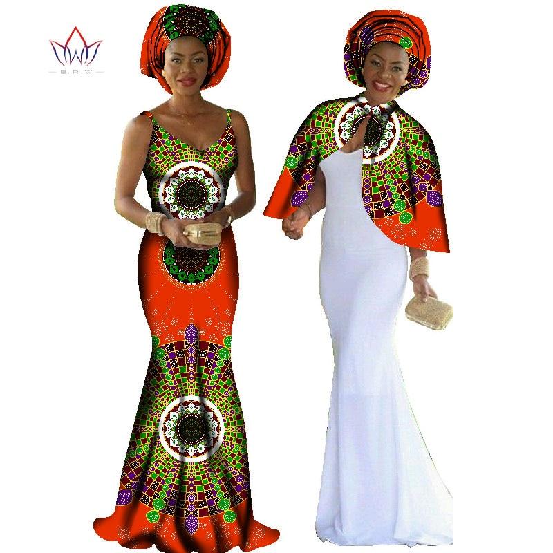 8dc262f145078 African Print Dress Dashiki Women 2 Pieces Set Original Cape   Braces Dress  Maxi Dress Plus Size Women Clothing Long BRW WY140