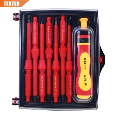 TEKTER 14 IN 1 VDE Insulated Screwdriver Set CRV High Magnetic Phillips Slotted Torx Screwdriver Multi Tools Hand Tool Set