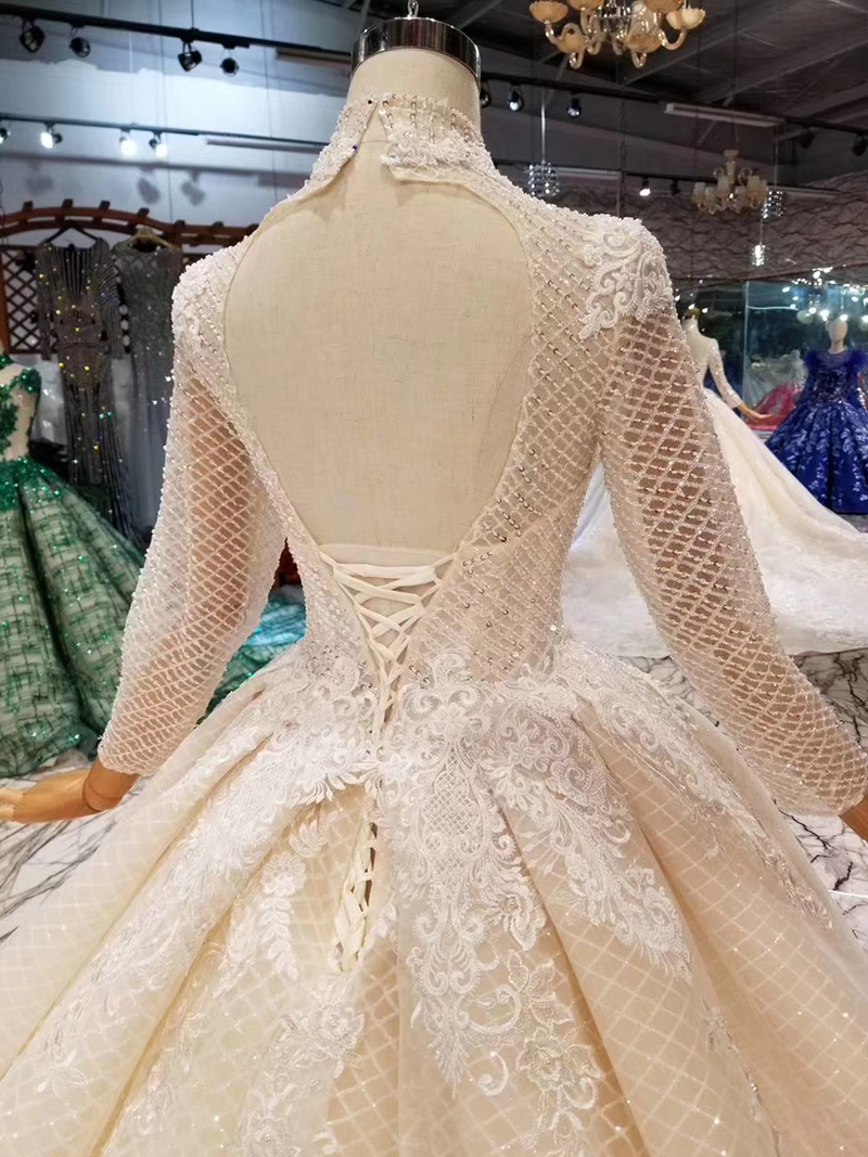 Image 5 - LSS446 long sleeves wedding dresses high neck open keyhole back wedding gowns lace appliques see through bridal wedding dressWedding Dresses   -
