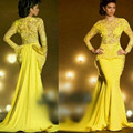Elegant Long Mermaid Evening Dresses Yellow Saudi Arabia Evening Gown Peplum Robe De Soiree Lace Evening Dress Full Sleeves
