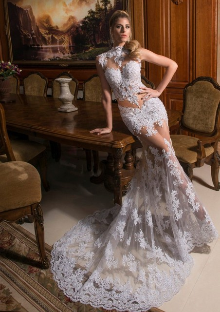 E2002 Sexy sheer strap sweetheart mermaid cut long white lace prom dresses  2015 a78769255
