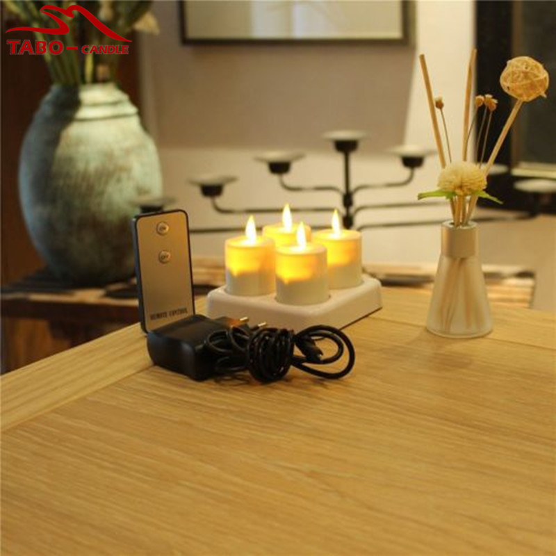 Promotion Rechargeable Flickering Moving Wick LED Tea Light Candle W/ Remote Timer for Home Bar Decor By Free Shipping