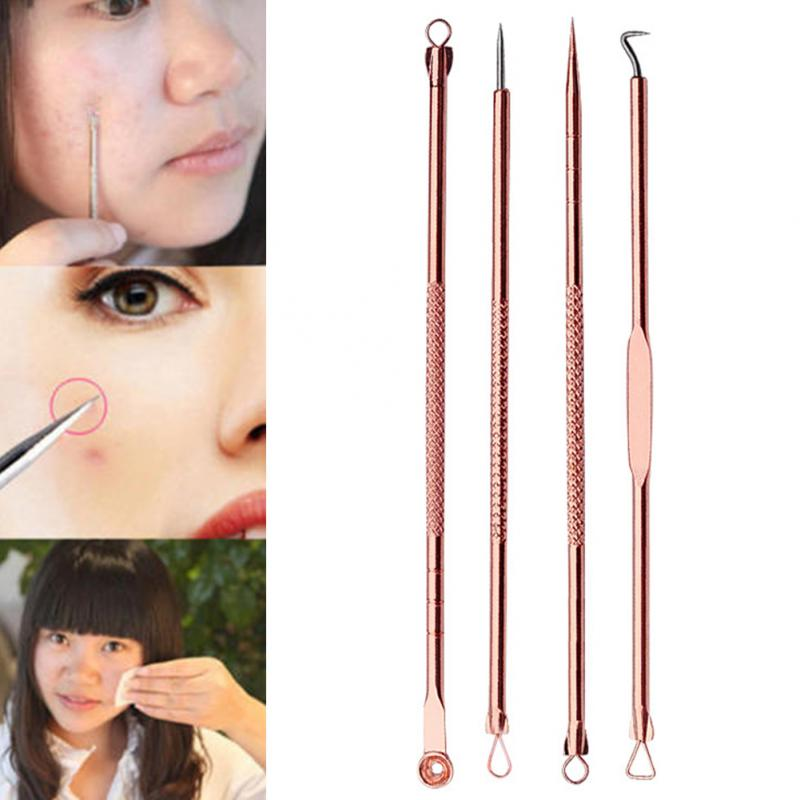 New 4pcs Stainless Steel Premium Blackhead Comedone Acne Pimple Blemish Extractor Remove ...