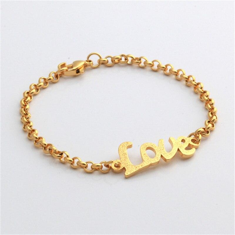 Valentinstag Geschenk Baby Gold Farbe Brief Liebe Armband Femme ...
