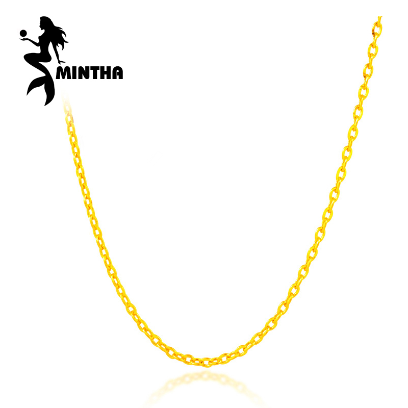 MINTHA Genuine 18K Yellow Rose Gold Chain Cost Price Sale Pure 18K Gold white Necklace for