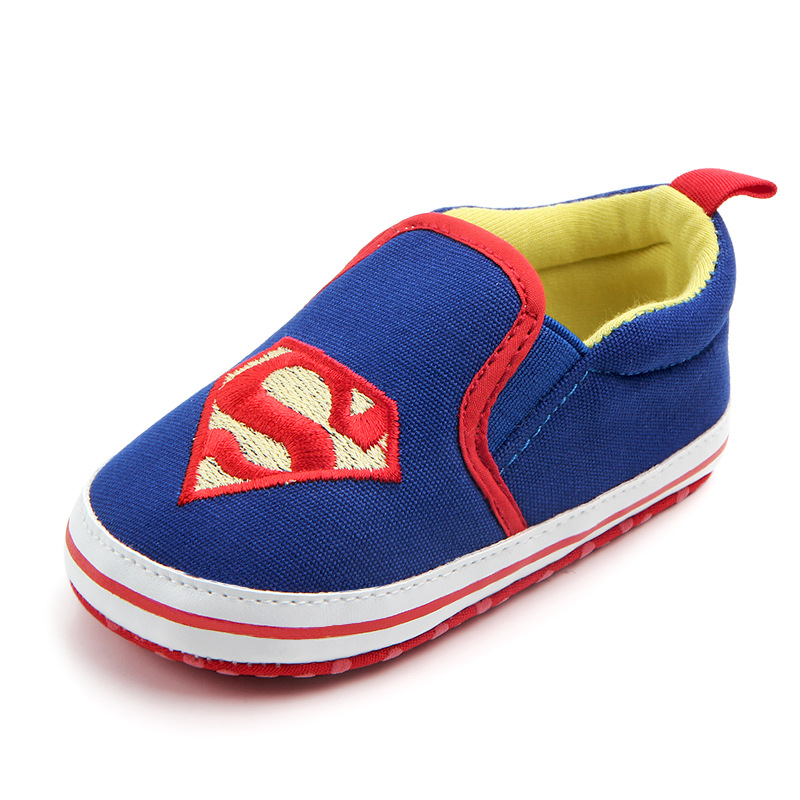 Unisex Baby Newborn Superman Canvas Soft Sole Slip On Shoes First Walkers Crib Shoes