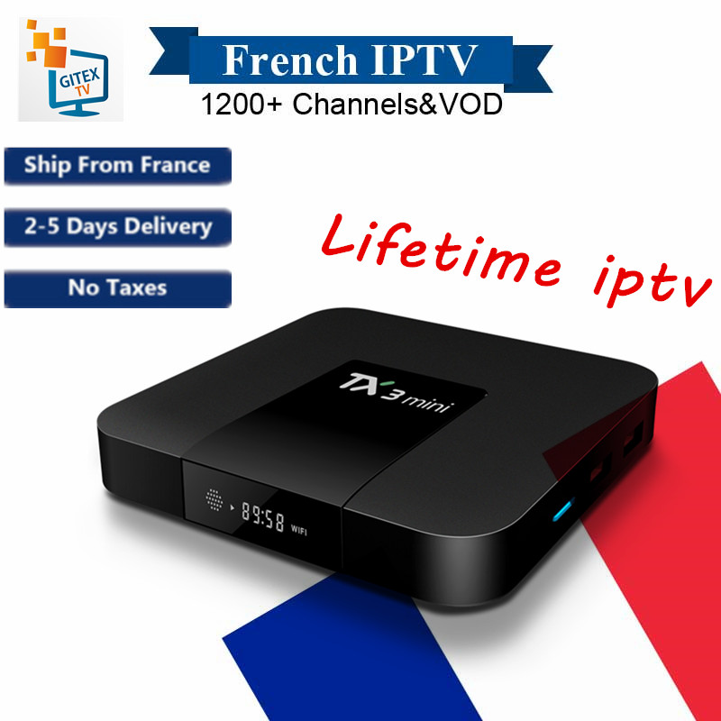 French Lifetime IPTV TX3mini S905W Android7.1 Smart TV Box 2GB/16GB with Free IPTV Free Lifetime 1000+ Channels+VOD Media Player