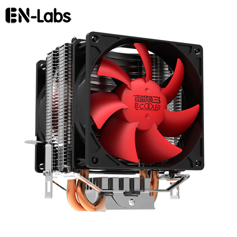 En-Labs 2x6mm Copper heatpipe Dual 80mm 3pin Fan CPU cooler radiator for socket 754/939/AM2/AM2+/AM3/FM1 LGA 775/1156/1155/1150 3 pin 80 x 80 x 25 mm connector cooler cooling heatsink exhaust fan for computer box cpu motherboard cooler radiator