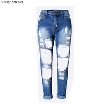 Sexy Hole Denim Jeans Women High Waist Ankle-length Vintage Slim Straight High Quality Ripped Denim Pants Trousers Night Club