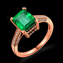 Amazing 18kt Rose  Gold Natural Diamond Emerald Cut 7×8.3mm  2.1Ct Emerald Engagement Ring SR0024