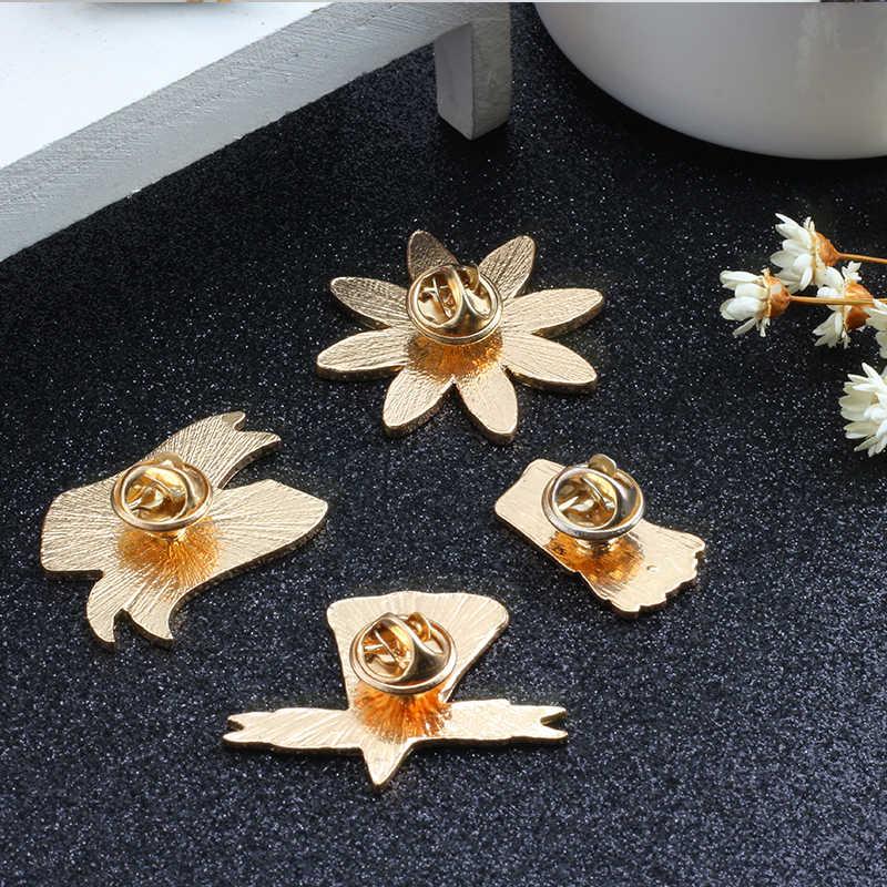 4 Pcs/set Pin Kartun Lencana Bros Wanita Kentang Goreng Pizza Syal Memenangkan Hati Saya Ya Tidak Ada Bunga Matahari Wanita Denim bedge Souvenir