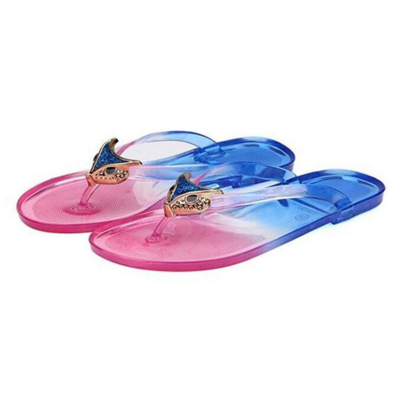 Fashion animal soft bottom transparent crystal slippers flat shoes beach flip-flops sexy women's shoes