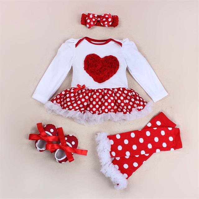 Trajes de bebé ropa de bebé de los mamelucos Bebe primero Cumpleaños Del Mono Del Bebé Recién Nacido Ropa Infantil Ropa 4 unids/set mamelucos corazón